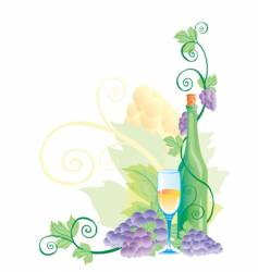 wine with grapes vector image