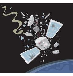 Wrecked satellite vector