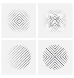 Set of striped abstract forms vector