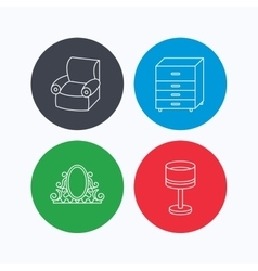 Mirror table lamp and armchair icons vector