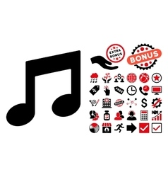 Music notes flat icon with bonus vector