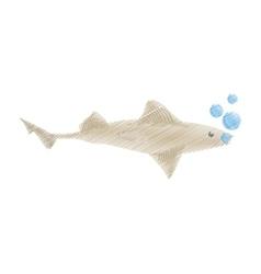 hand drawing shark fish ocean species bubbles vector image