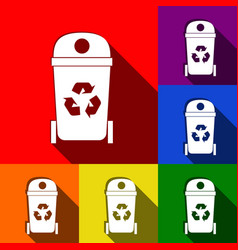 trashcan sign set of icons vector image