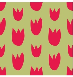 Seamless floral pattern with hand drawn red tulips vector
