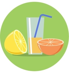 Lemon orange and juice flat vector