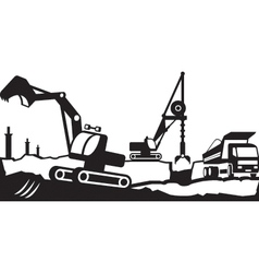 Building excavation and transport equipment vector