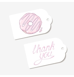 White paper tags in  thank you hand drawn vector