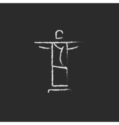 Christ the redeemer icon drawn in chalk vector