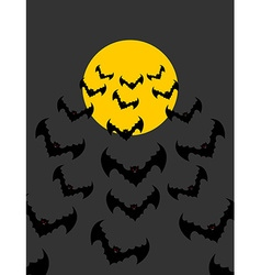 Flying vampires against background of moon bunch vector