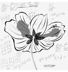 Sketch wih flower and number vector