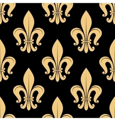 Seamless golden fleur-de-lis pattern over black vector