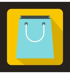 Blue paper shopping bag icon flat style vector