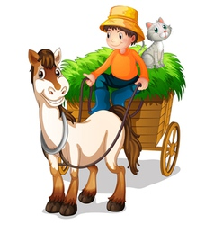 A farmer riding a cart with a cat at the back vector image