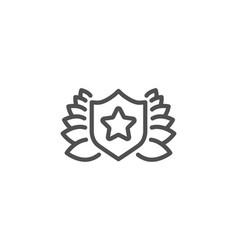 Award shield line icon laurel wreath sign vector