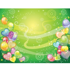 Background with balloons green vector