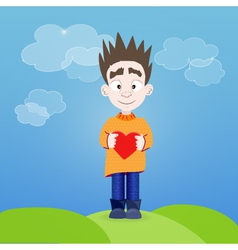 Boy with heart in his hands outdoor vector image vector image