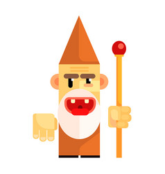 Cartoon angry dwarf holding staff in his hands vector