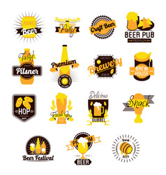 craft beer hand drawn logos vector image vector image