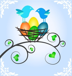 Easter picture with birds vector image