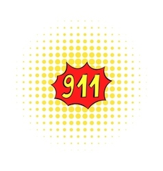 Emergency 911 icon comics style vector