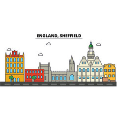 england sheffield city skyline architecture vector image
