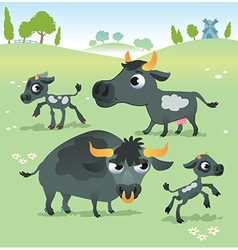 Farm animals cow set vector image