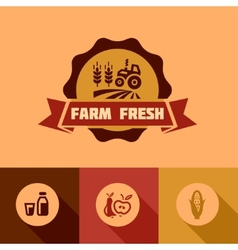 flat farm fresh design elements vector image vector image