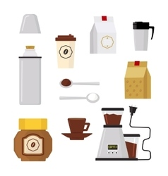 Flat modern icons for coffee shop vector image vector image