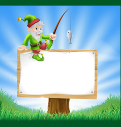 Garden gnome or elf sign vector
