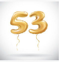 Golden number 53 fifty three metallic balloon vector