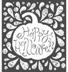 Happy Halloween text Hand drawn sketch Beautiful vector image