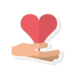Isolated hand and heart design vector image