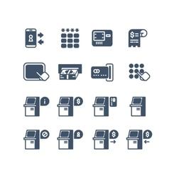 Kiosk terminal service info icons vector
