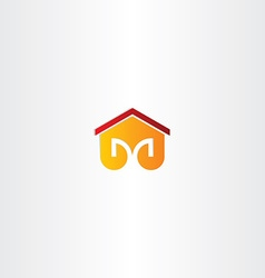Letter m house building icon vector