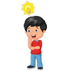 Little boy with big idea vector
