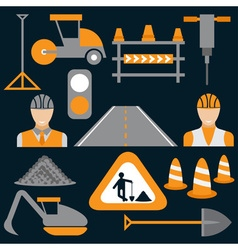 Men at work road works flat design icons vector