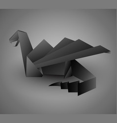 Origami black dragon card or calendar template vector