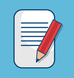 Paper document with pencil isolated icon vector