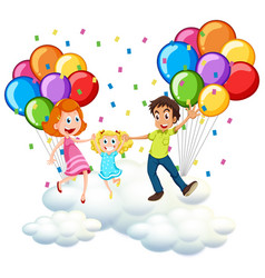parents and little girl on clouds with colorful vector image vector image