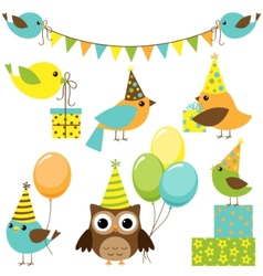 party birds set vector image vector image