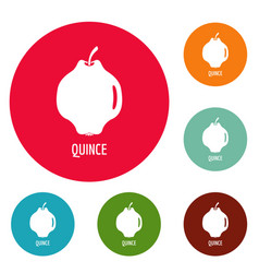 Quince icons circle set vector