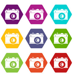 retro camera icon set color hexahedron vector image