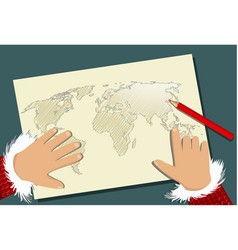Santa claus christmas planning with map vector