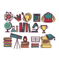 School lessons items and sicence education vector