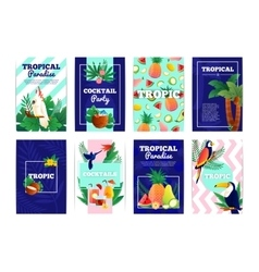 Tropical banners cards set vector
