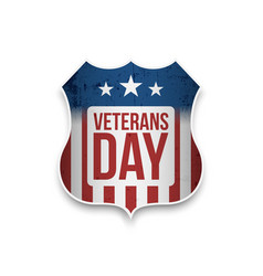 Veterans day label with text vector
