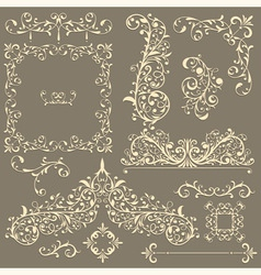 vintage floral design elements vector image