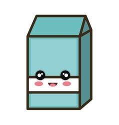 Kawaii cartoon milk box vector