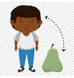 Boy cartoon pear fruit vector