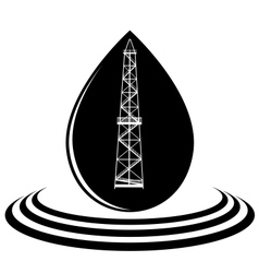 A drop of oil and oil rig vector image